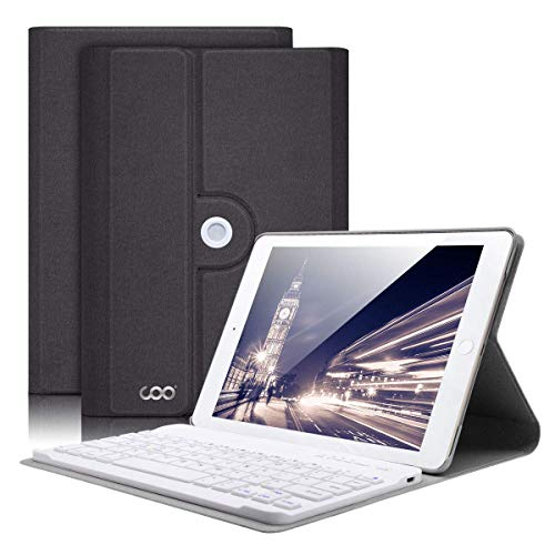 COO Funda Teclado iPad Mini 4, Funda Ultraliviano con Teclado Español Bluetooth Inalámbrico para iPad Mini 4 con Visión de Multiángulo y 360 Grados Soporte Giratorio (Gris)