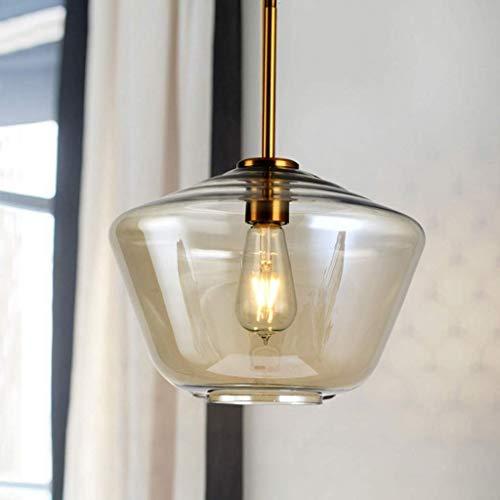 GFF Modern Retro-Light Araña Grande colgante + Sombra de vidrio de pecera, Acabado en Bronce aceitado -