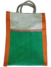 Madhura Vaishnavi Traders Orange & Green Color Eco Friendly Jute Shopping Bag