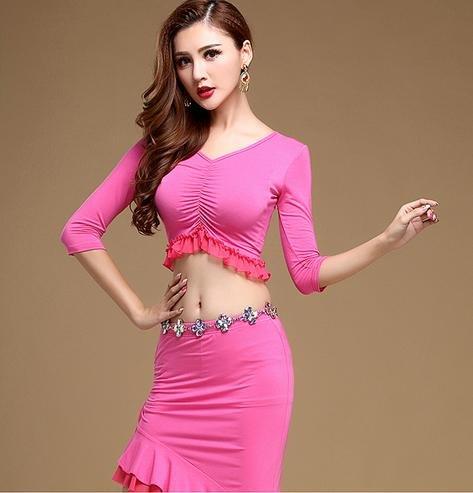 Femme blouse de danse du ventre et jupe costumes / 2 pièces / formation de danse du ventre Rose