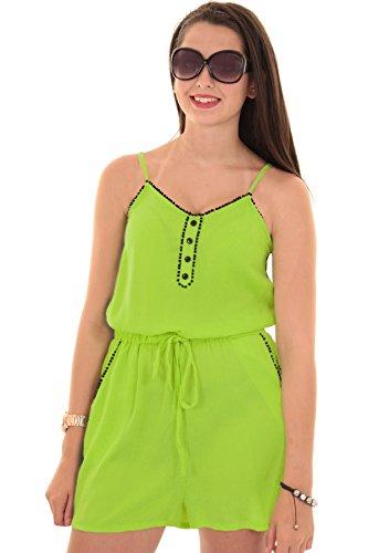 Fantasia Damen Freizeit kurzer Overall doppelt genäht mit Knöpfen  Limettengrün