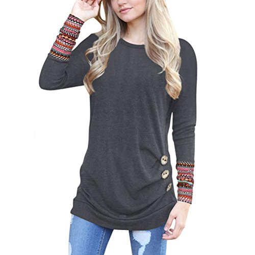OverDose Frauen Solide Shirt Langarm Botton Falten Bluse Lässig O Neck Casual Tops Plus Größe(M,B-Dunkelgrau) (Rock Dots Polka Falten)
