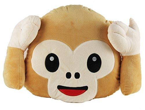 "Emoji - Monkey No Hear Plush - Pillow Cushion - 32cm 13"" x 27cm 11"""