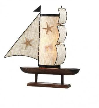 tischleuchte boot schiff segelschiff tischlampe holz lampe leuchte globo 2819. Black Bedroom Furniture Sets. Home Design Ideas