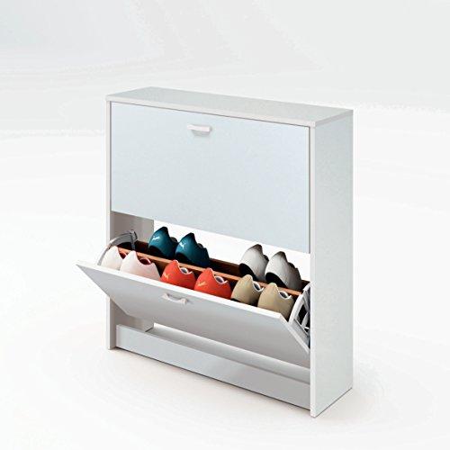 Armario Zapatero Color Blanco Brillo de 2 Puertas abatibles, balda Doble y herrajes para Pared incluidos. 82cm Altura x 74cm Ancho x 25cm Fondo