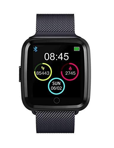 Boutique Connectée Montre Connectée Bracelet Milano pour Smartphone Apple iOS Android Bluetooth 4.2 Langue Français Rythme Cardiaque SMS Appels Météo Musique Mode Sport Étanche (Gris)