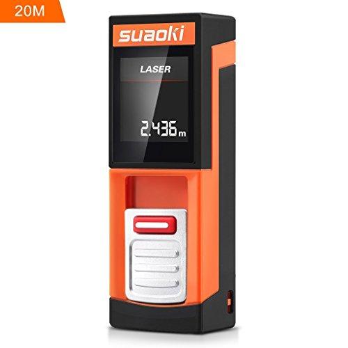 SUAOKI D5 20m Laser-Entfernungsmesser Distanzmessgerät, Messbereich 0,2~20m/ ±2mm mit LCD Hintergrundbeleuchtung, inkl.Batterie und Schutztasche