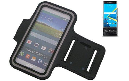 Preisvergleich Produktbild K-S-Trade Für BlackBerry Priv Neopren Jogging Armband Sportarmband Oberarmband schwarz für BlackBerry Priv mit Reflektor Streifen. Fitness Lauf Armband