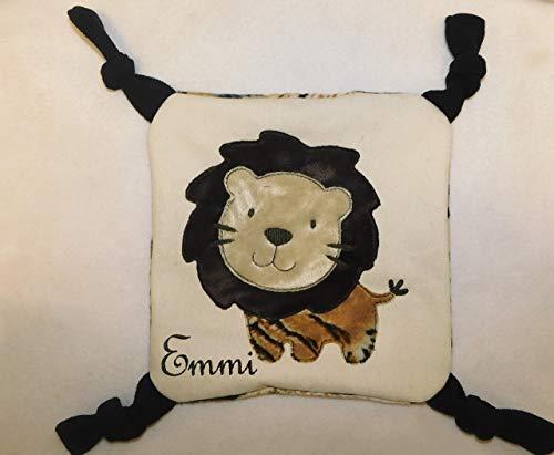 LunaChild Schmusetuch Löwe Schnuffeltuch von Hand gefertigt Knistertuch Kuscheltuch Taufe Name Wunschname Geburt