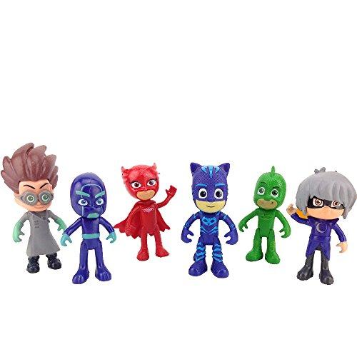 New 6 Pieces PJ Masks Moving Hands and Legs Figures For Kids - Neue 6 Stück PJ Masks Umzug Hände und Beine Figuren Für (Auto Kostüm Video Spiel)