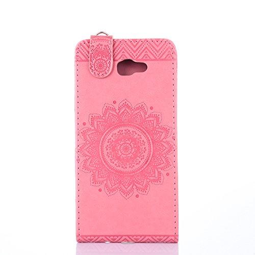 Galaxy J5 2017 Hülle Leder Tasche Flip Cover Samsung Galaxy J520 Wallet Case Alfort Stilvoll Handycover Blau Mandala Blumen Muster PU Ledercase Brieftasche Handyhülle für Samsung Galaxy J5 2017 / J520 Rosa