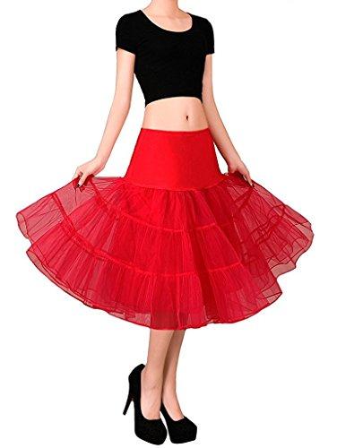 (FOLOBE 50s Petticoat Röcke Tutu Crinoline Underskirt Erwachsene Ballett Ballettröckchen Layered Organza Spitze Minirock 65cm/25.6