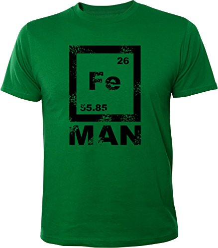 Mister Merchandise Witziges Herren Männer T-Shirt FE Man Iron Ironman Chemie Periodentafel Nerd , Größe: XL, Farbe: Grün
