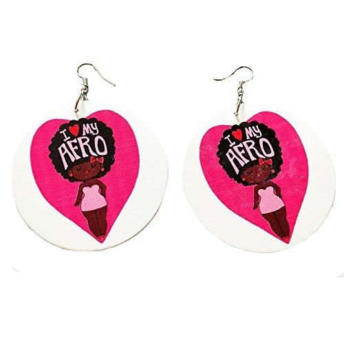 inge,6 cm Tribal Holz Afrika Rosa Herz Ich Liebe Meine Afro Vintage Ohrringe Runden Schwarzen Afrikanischen Böhmen Ohr Schmuck Zubehör Für Damen Mode Personalisierte Ohrschmuck ()