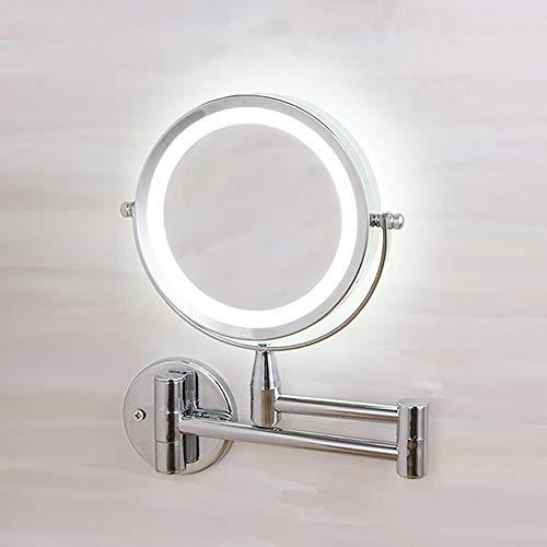 el Schminkspiegel mit LED Beleuchtung, Badezimmer Wandspiegel Make-Up-Spiegel 3-facher Vergrößerung Doppelseitig 360°Schwenkbar Beleuchtung für Zuhause und Unterwegs ()
