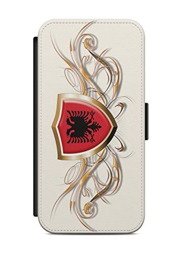 Geeignet für iPhone 8 Flipcase Handytasche Hülle mit Magnetverschluss auffklappbar Albanien Adler Fahne Flagge
