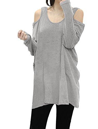 Allegra K Damen Kalte Schulter U-Ausschnitt Casual Pullover Herbst T Shirts Hell Grau