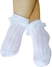 chaussettes Pointelle filles bébé avec de la dentelle couture libre ouvrir tricotée minces chaussettes en coton sans coutures orteil