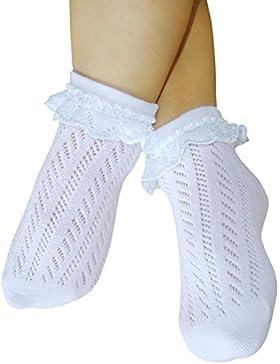 Mädchen Pointelle Socken mit Spitze Naht frei offen gestrickt dünne Baumwollsocken ohne Zehennähte