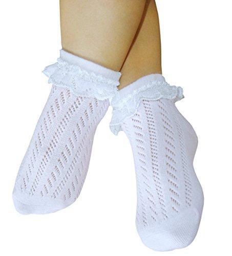 chaussettes Pointelle filles bébé avec de la dentelle couture libre ouvrir tricotée minces chaussettes en coton sans coutures orteil (19-22, 2 paires blanc)
