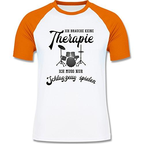 Shirtracer Instrumente - Ich Brauche Keine Therapie Ich muss Nur Schlagzeug Spielen - Herren Baseball Shirt Weiß/Orange