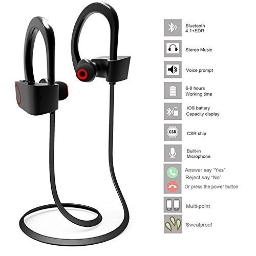 Acid Eye 4.1 Waterproof Wireless Bluetooth Earphones with MIC.Excite Deep Bass bluetooth headphone with 1 year warranty.