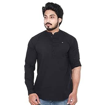 Twist Men's Linen Chinese Collar Short Kurta Shirt (Black, Medium)