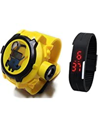 Lemonade Pack Of 2 Kids Favourite Minion 24 Character Projector Band & Digital Led Bracelet Band For Kids, Children