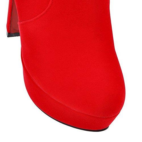 AllhqFashion Femme à Talon Haut Couleur Unie Dépolissement Zip Bottes Rouge