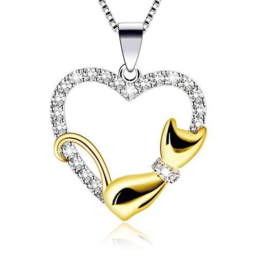 Damen Halskette Anhänger 925 Sterling Silber Katze Herzkette 5A Zirkonia Twist 45CM Kettenlänge Geschenk