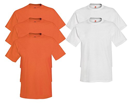 Hanes Mens Tagless Comfortsoft Crewneck T-shirt (Pack of 5) 3 Orange / 2 White