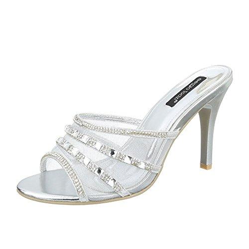 Pantoletten Damen Schuhe Jazz & Modern Pfennig-/Stilettoabsatz High Heels Ital-Design Sandalen / Sandaletten Silber