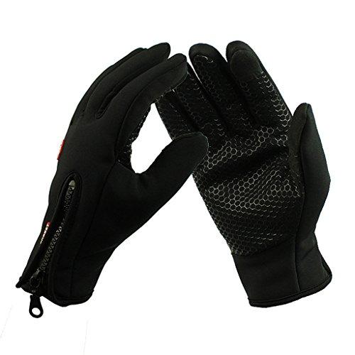 iCreat Touchscreen Handschuhe Damen / Herren Warme Fahrradhandschuhe Winddicht Wasserdicht Herbst Winter Schwarz, Größe M