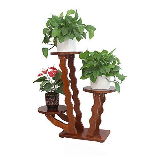 Présentoir à fleurs en bois avec présentoir de plantes à 3 niveaux, présentoir de plante de pot de fleur de radis vert de Chlorophytum