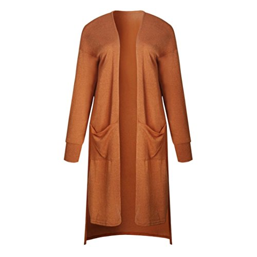 FORH Damen Vintage lang Cardigan Mantel langarm Stricken Strickjacke Kimono Outwear mit Pockets weich übergangsjacke Trenchcoat Strickpullover Strick Loose Strickmantel (M, Orange) (Kimono Stricken)