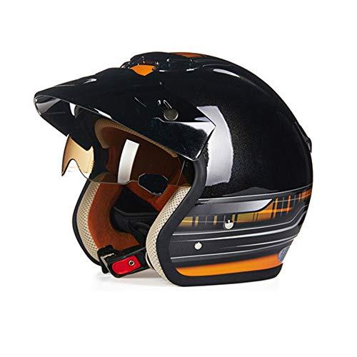 YGFS Harley Motorrad 3/4 Helm Vier Jahreszeiten Männer Und Frauen Halb Bedeckt Sicherheit Retro Motorrad Motorrad Halbhelm (hell Schwarz Orange)