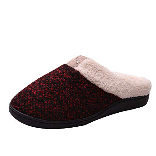 JUSTSELL_Schuhe für Herren Damen, Winter Hausschuhe Memory Foam Pantoffeln Wärme Plüsch Futter Slippers