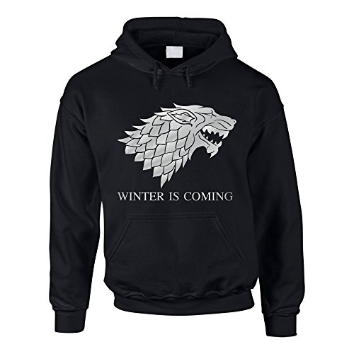 Hoodie Game of Thrones Winter is coming Kapuzenpullover Schattenwolf, schwarz-silber, L