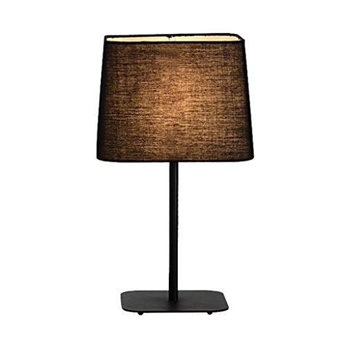 JIAHONG Kreative moderne einfache Eisen Handwerk Tischlampe, Wohnzimmer Schlafzimmer Nachttisch Licht Nacht Licht, quadratische Form Leinen Handwerk dekorative Tischlampe ( Color : Black )