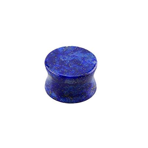 eeddoo 12mm Stein Plug Blau Lapislazuli - Blauer Flesh Tunnel - Organischer Piercing OHRTUNNEL für...