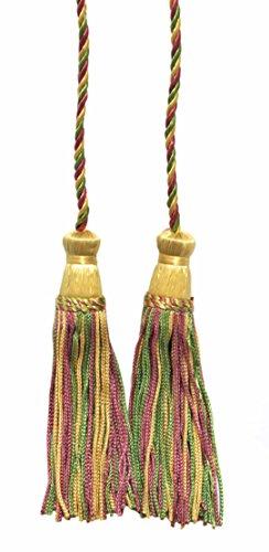Lot de 2 Doré clair, Dusty Rose, vert Double Tassel/pompon Cravate avec 10,2 cm inch Pompon/propagation 73,7 cm, style # Cdct Couleur : lumineux pastels – 9401