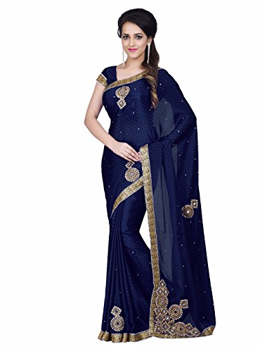 Sareeshop Silk Saree With Blouse Piece (Mancholinavyblue_Blue_Free Size)