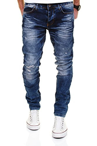 MERISH Jeans for Men 5 Pocket-Style Slim Fit Destroyed Look bleached Modell J2053 Blue 32/34