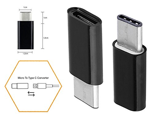 3x Micro USB zu Type C Konverter Adapter Connector Universal - 3x Schwarz M-T