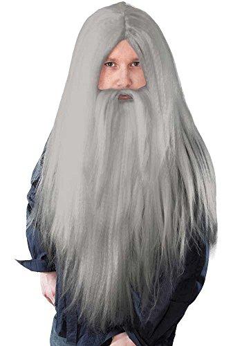 Bart Langen Kostüm Grauen - Mr.Giggelz Perücke mit Bart - Zauberer - Grau