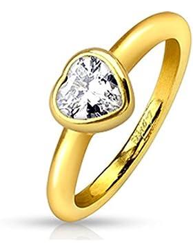 Paula & Fritz® Ring aus Edelstahl Chirurgenstahl 316L gelbgold 3mm breit Herzfassung mit Herzzirkonia farblos...