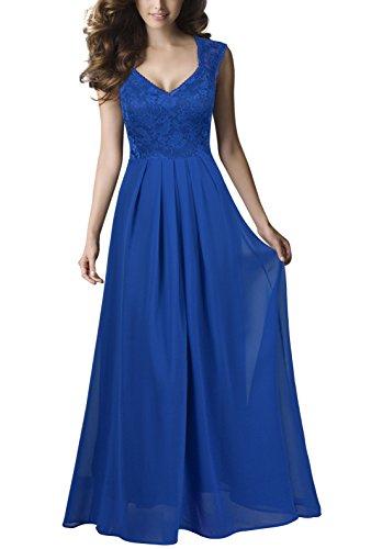REPHYLLIS Damen Vintage Chiffon Hochzeit Brautjungfer Lang Spitzenkleider Abendkleider(XL,Blau) (Chiffon Cocktail-kleid Vintage)