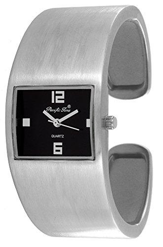 Pacific Time Damen-Armbanduhr Spangenuhr gebürstet Analog Quarz silber schwarz 21784