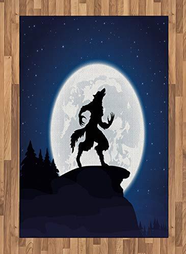 ABAKUHAUS Wolf Teppich, Halloween Thema Design, Deko-Teppich Digitaldruck, Färben mit langfristigen Halt, 120 x 180 cm, Dunkelblau Weiß Schwarz