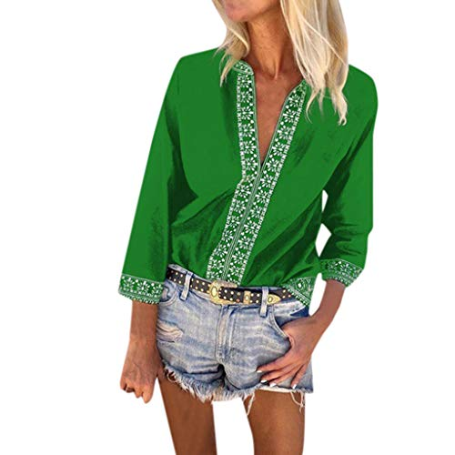 Kviklo Damen Plus Size T-Shirt Vintage USA Flagge Druck Kurzarm Shirt Bluse Oversize(5XL(46),Grün) (Globus Bat)